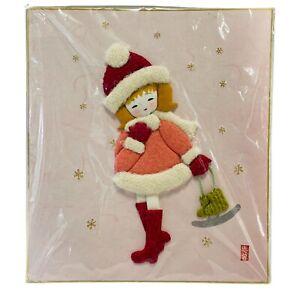 Modern 3D Asian Textile Art Little Girl Winter Ice Skating Pink New
