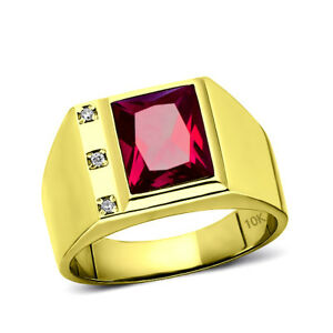 NEW Solid 10K Yellow Fine Gold Red Ruby Mens Ring with 0.06ct Natural Diamonds