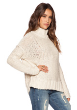 Free People Long Summer Pullover Chunky Knit Mockneck Sweater M Cream Rustic