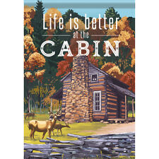 """Better at the Cabin House Flag  28"""" x 40"""" Double sided Flag by Carson"""