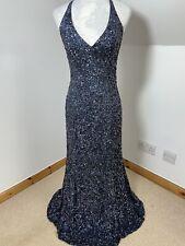 Serenade Vintage Silk Blue Green Size 10 Full Length Sequin Slip Backless Dress