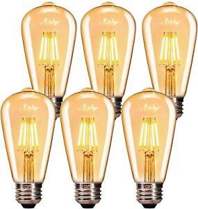 Vintage LED Edison Light Bulb 4W E27 Amber Glass ST64 2700K 330LM (Pack of 6)