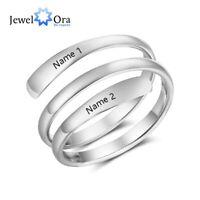 Personalisierte Geschenk Gravur 2 Name Edelstahl verstellbare Ringe für Lovers