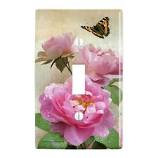 Pink Roses and Butterly Plastic Wall Decor Toggle Light Switch Plate Cover