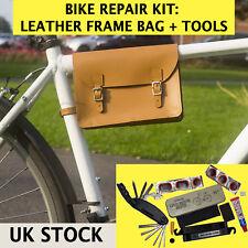 Set di Riparazione Bicicletta Telaio Borsa in Pelle, Multi-Tool, forare riparazione KIT Made in UK