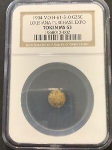 1904 MO H-61-330 1/4 Gold Louisiana Purchase Expo Token NGC MS 63