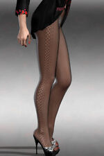 New Black Side Diamond Pattern Tights Fishnets Pantyhose Lingerie One Size 8-12