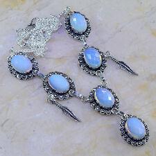 "Handmade Rainbow Opalite Gemstone 925 Sterling Silver Necklace 19.5"" #J95918"