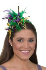 Mardi Gras Festival Headband with Feathers, Beads and Ribbon