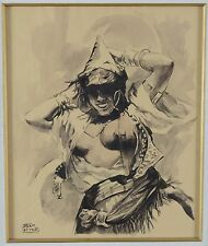 Adam Styka 1890-1959 Ink and Wash Orientalist Painting Arab Woman Exposed Breast