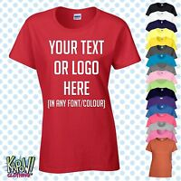 Custom Personalised Womens/Ladies Printed T-SHIRT Hen Party Gift-Your text/logo3