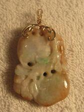 Rare Multi Colored White Jade Pendant w/ 14K Yellow Gold Bale -Vintage pre 1950s