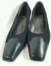 MINT STUART WEITZMAN Navy Blue Square Toe Suede Heels Shoes sz 9 AA Narrow SH