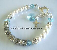 Christening / Baptism Gift  BABY BOY'S Name Bracelet  ~Swarovski ~ Custom Made