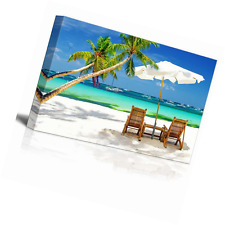 "Canvas Print Wall Art Tropical Holidays at the Beach Palm Trees 16"" x 24"""