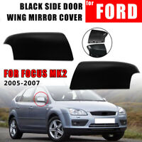 LEFT + RIGHT SIDE DOOR WING MIRROR COVER CAP BLACK FOR FORD FOCUS MK2