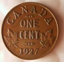 1927 CANADA CENT - Scarce Early Date Coin - FREE SHIPPING - Big Canada Bin