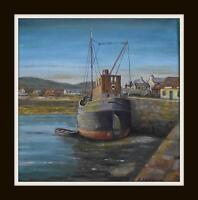 """Clyde Puffer """"Ardfern"""" Original Marine Oil Painting by Kevin Corroue 12"""" X 12"""""""
