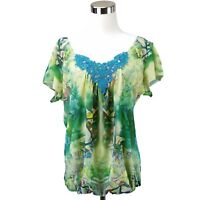 One World Blouse Top Womens M Multicolor V-Neck Lace Floral Flutter Short Sleeve