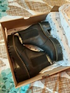 BNIB Brand New Dr. Martens Rometty Black Leather Chelsea Ankle Platform Wedge...