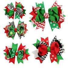 Christmas Holiday Gift Snowflake Ribbon Large Hair Bows Clip Baby Girl Hairpin