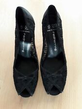 Gorgeous Black Lace PeepToes Heels Shoes from Red Herring - Size 6 - Great Cond