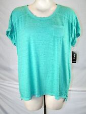Style & Co Green Scoop Neck Basic Knit Top Tee Womens Plus Size 0X 10W 12W