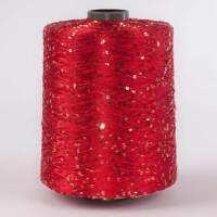 1 Spule 1,2 kg Pailletten Garn GP 42,00 €/kg Nm 5,2 rot/gold Wolle Weben