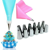 14PCS/Set Silicone Icing Piping Cream Pastry Bag +12PCS Stainless Steel Nozzle