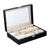 12 Grids Slots Black Leather Watch Storage Box Display Holder Organizer Case New