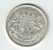 CANADA 1948 50 CENTS HALF DOLLAR KING GEORGE VI CANADIAN .800 SILVER COIN