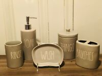 Rae Dunn By Magenta Grey BRUSHES, RINSE, WASH, SOAP, THINGS, Bathroom set of 5