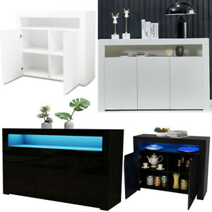 Sideboard 2/3Doors High Gloss Cabinet Cupboard Storage TV Unit White + LED Light