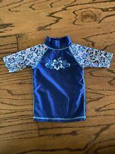 Girls UV Skinz Rash Guard Swim Shirt 3T Blue Floral