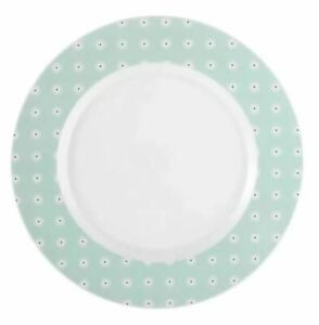 Seltmann Weiden Dinner Plate Porcelain China, White Green Set of 6