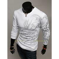 Fashion Mens Tattoo Print Round Neck Casual Long Sleeve Slim Fit T-Shirt Top New