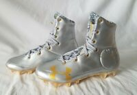 Under Armour Highlight MC LE 3000838-100 Silver Gold Football Cleats Mens Size 9