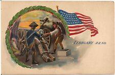 """February 22nd"" Firing Cannon George Washington's Birthday Patriotic Postcard"
