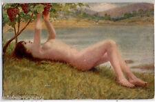 Baccante NUDE Girl w Grapes Nudo con Uva PC circa 1910 ITALY