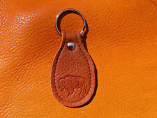 Brown BUFFALO LEATHER Key Fob hand crafted by disabled Navy veteran USN 5006