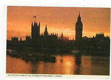 London, An Evening View Of The Houses Of Parliament Old Postcard, A470