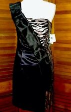 138$ Black Silver Zebra Print Club Pageant Runway Dance Dress One Shoulder 5