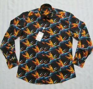 BERTIGO Mens OLSSON/18 Black Floral Print Sport Shirt Size M