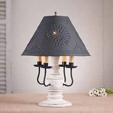 Cedar Creek 4-arm Wood Table Lamp in Vintage White w/ Punched Tin Shade