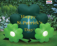 5' Air Blown Inflatable Happy St. Patrick's Day Shamrocks Home Yard Decor