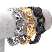 New Stainless Steel Silver Gold Black Figaro Chain Men Double Lion Head Bracelet