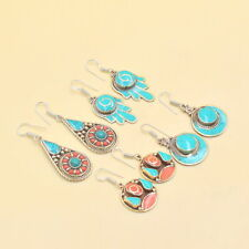 Wholesale 4 Psc Lot 925 Silver Plated Turquoise Coral Women Earring RC4647