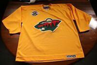 Vintage Minnesota Wild Practice Jersey Yellow CCM XL NHL Hockey