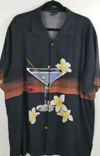 Tulliano Mens 100% Silk Embroidered Olive Cocktail Martini Camp Shirt Size XL