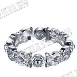 Fashion Lady! Sterling Silver Round Pave Cubic Zirconia Halo Band Ring Jewelry